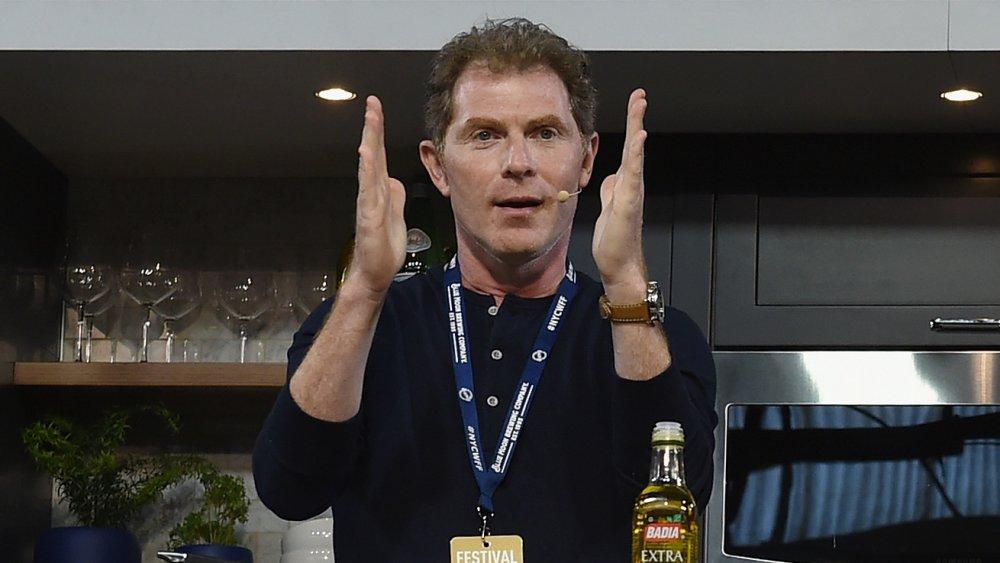 Bobby Flay gives a cooking demonstration