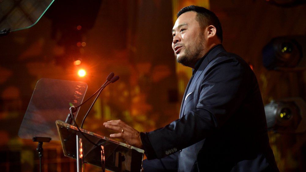 David Chang speaks at an event