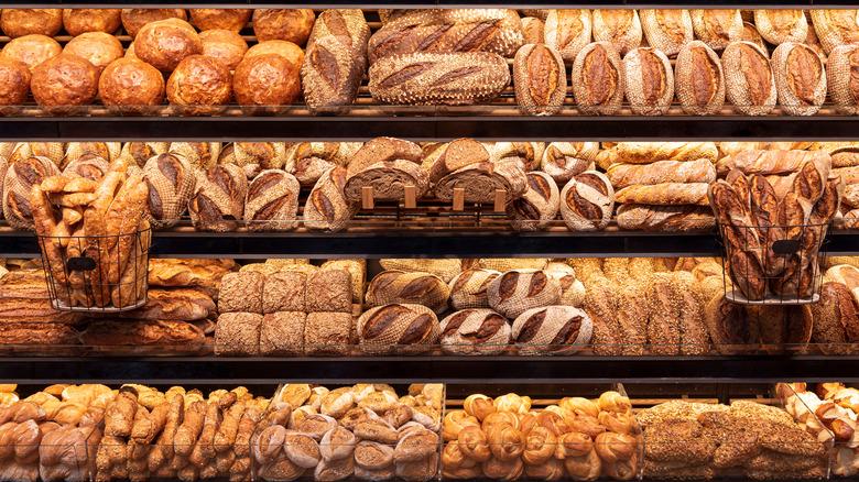bread on bakery shelves