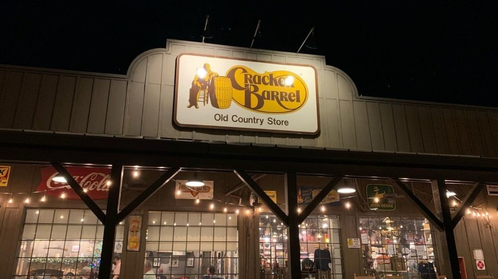 Cracker Barrek storefront at night