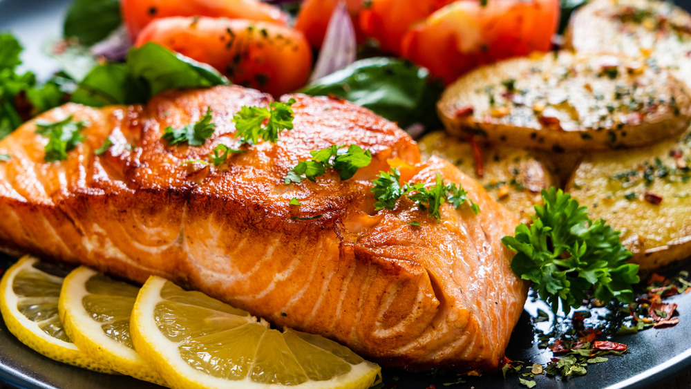 Close up of cooked salmon
