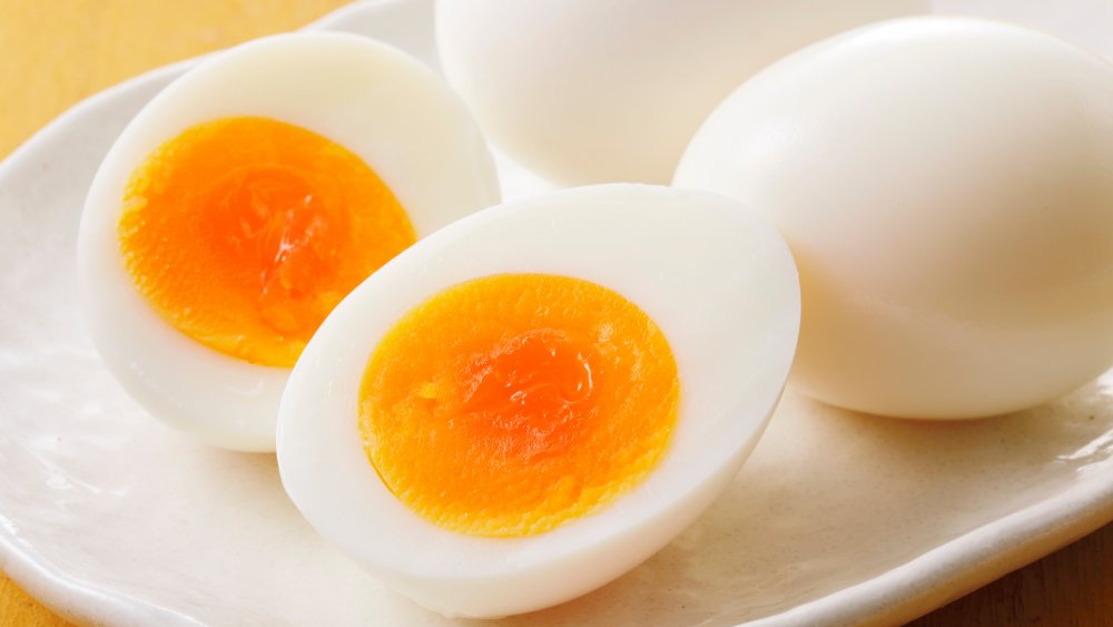 Soft-boiled egg cut in half