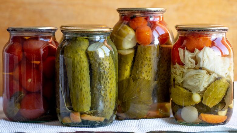 Pickled veggies in jars
