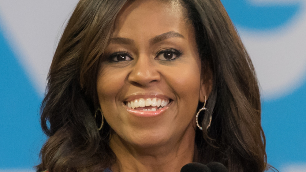 Michelle Obama delivering speech