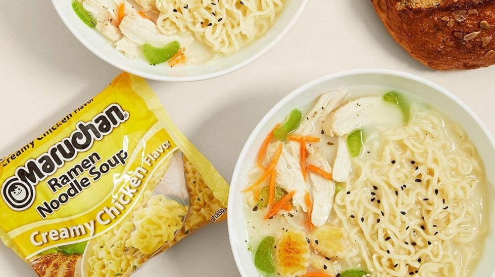 Bowls of Maruchan Ramen noodles