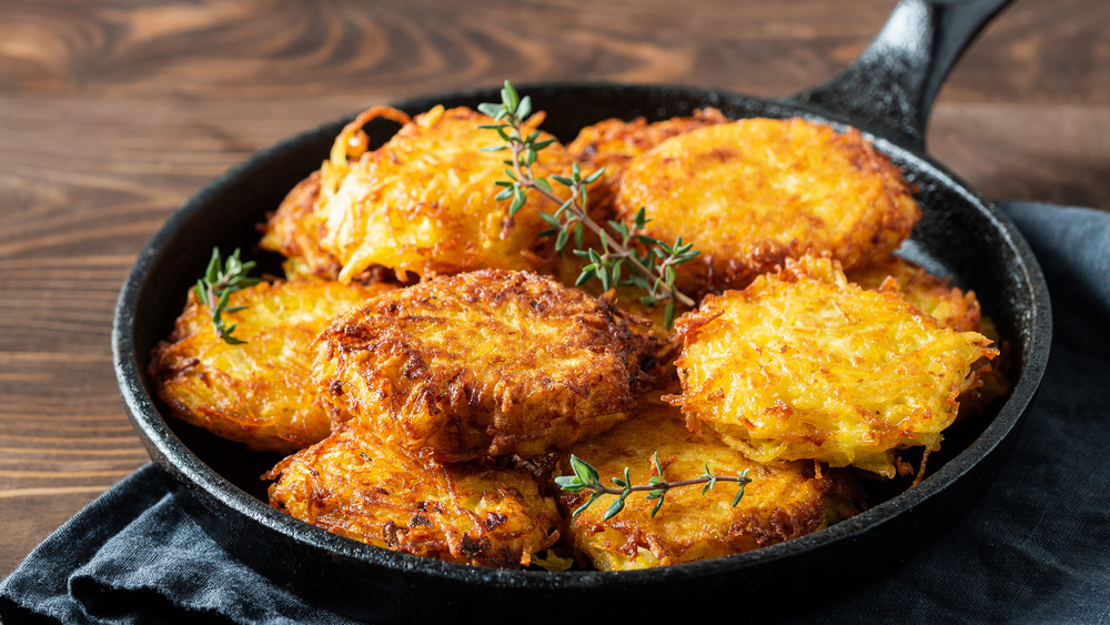 skillet filled with hash browns