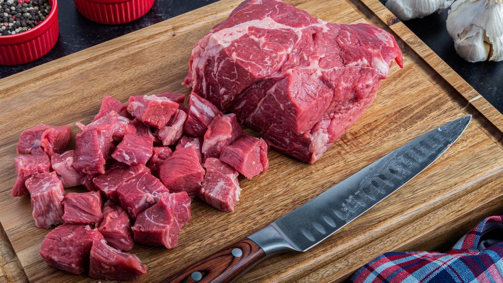 boneless beef chuck on cutting board