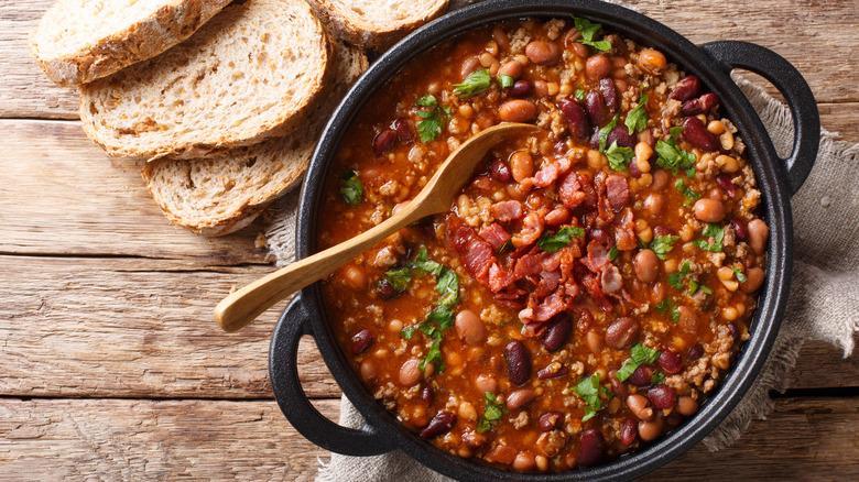 Pot of bean chili