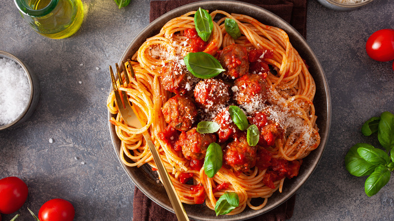 Spaghetti with meatballs in a bowl