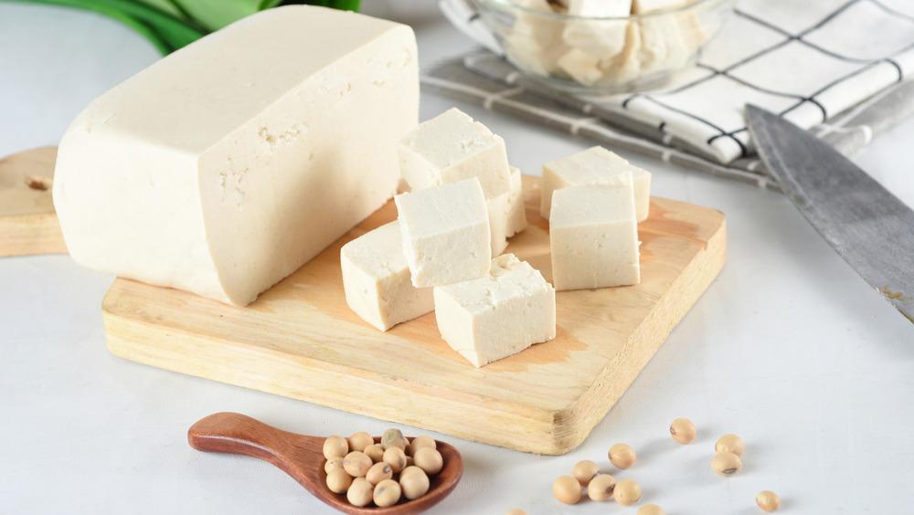 Blocks of tofu on a cutting board