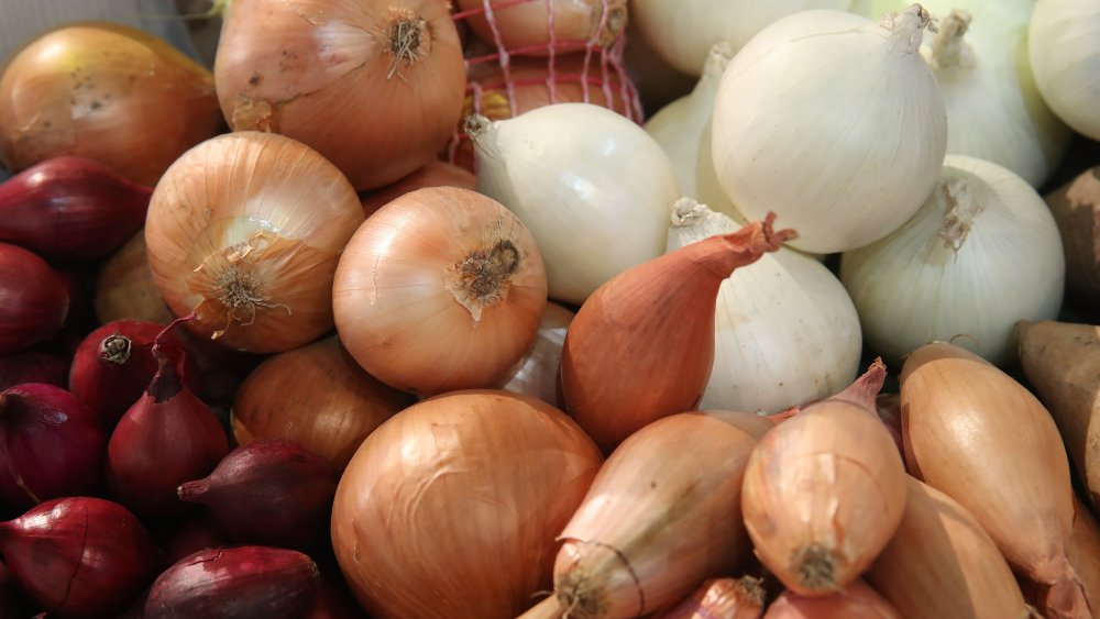 A variety of types of shallots and onions