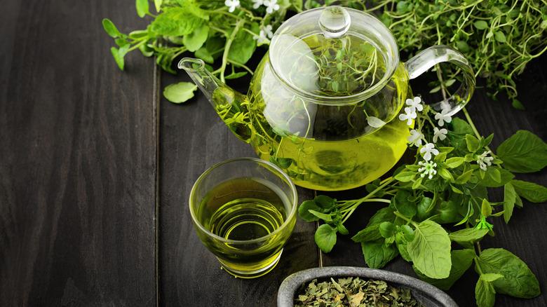 green tea, tea leaves