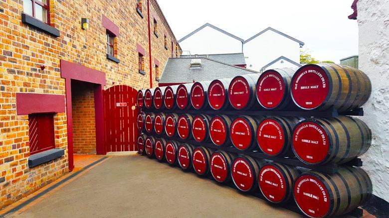 Barrels of single malt whiskey at Bushmills distillery