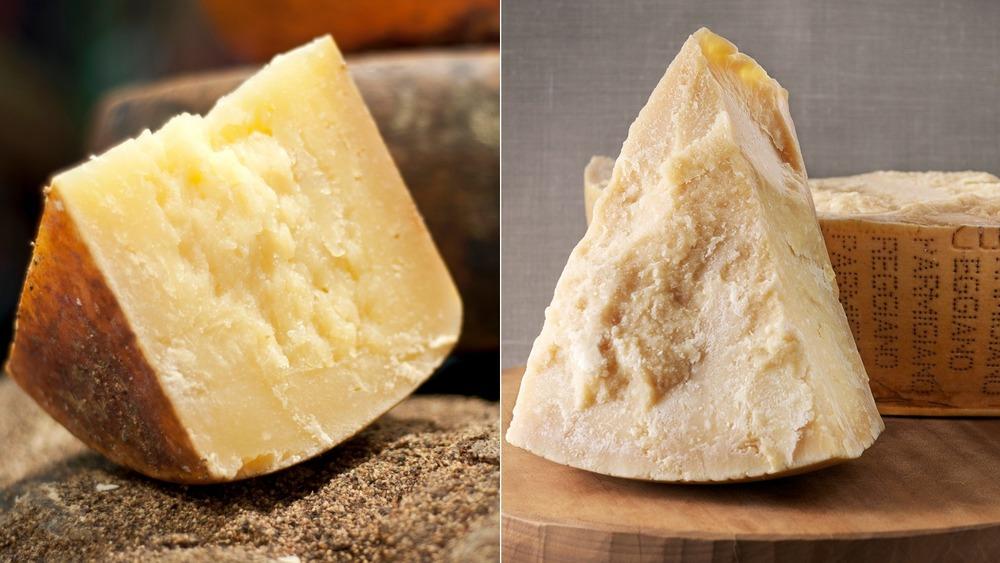 Slices of Pecorino Romano and Parmigiano Reggiano