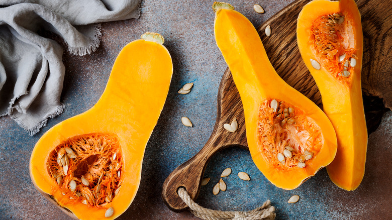 quartered and halved butternut squash