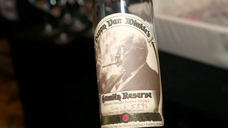 Bottle of pappy van winkle bourbon