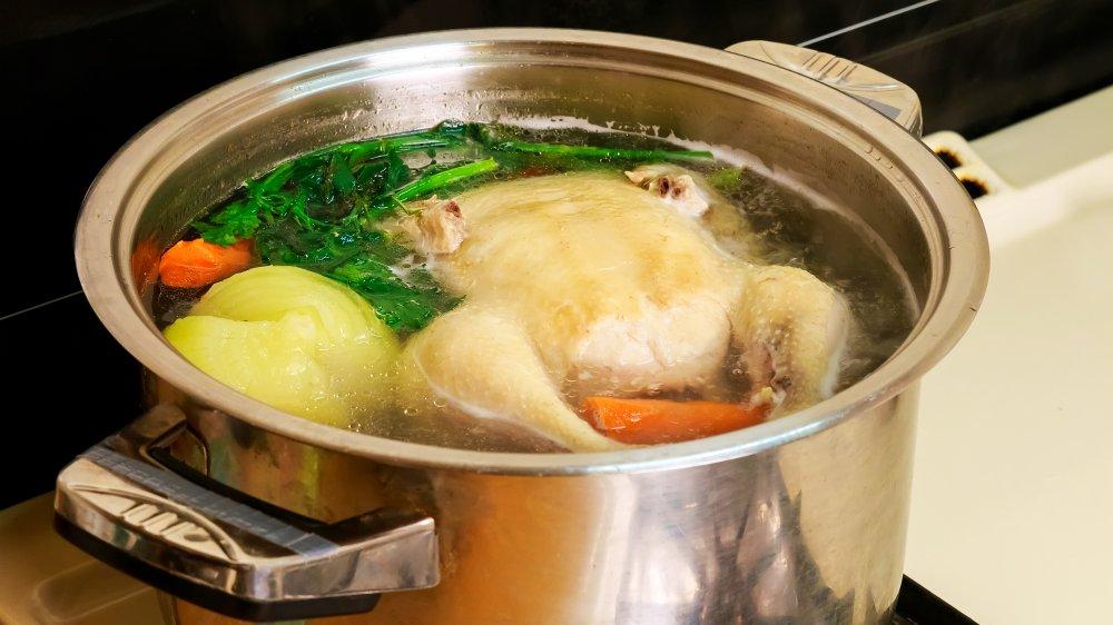 chicken soup, simmer, chicken