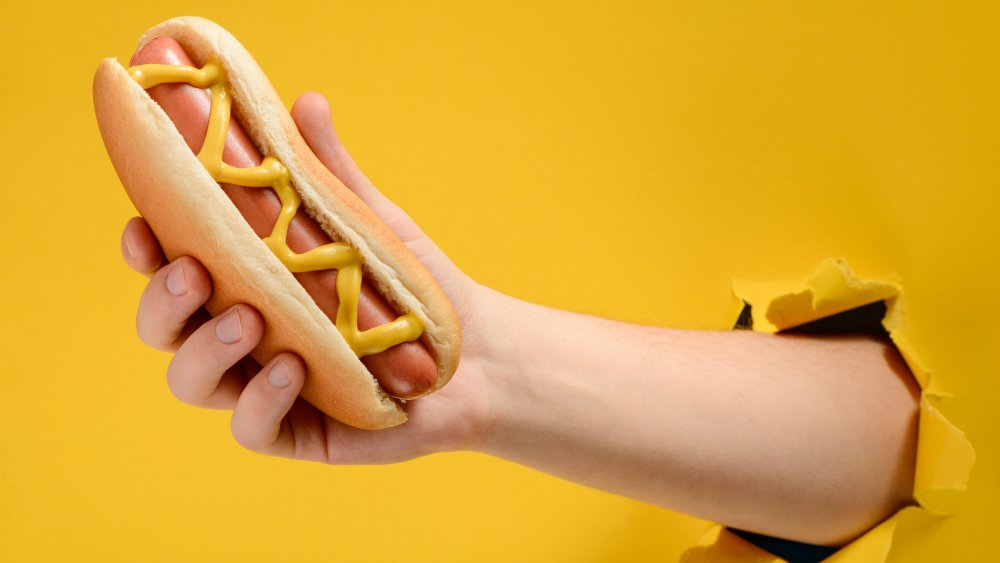 A hand holding a hot dog