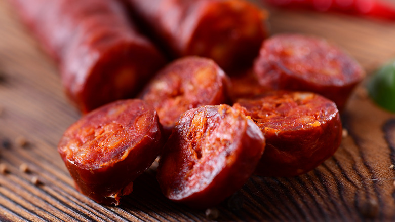 Closeup of sliced Spanish chorizo