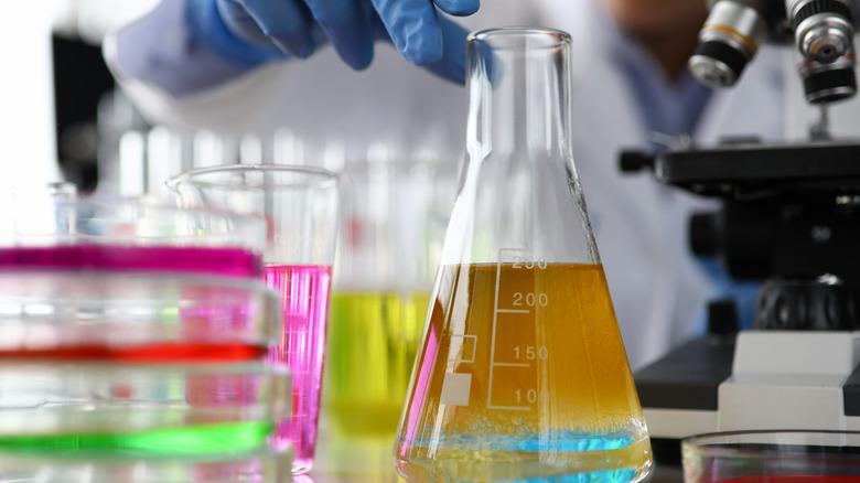 liquid in glass beaker in lab