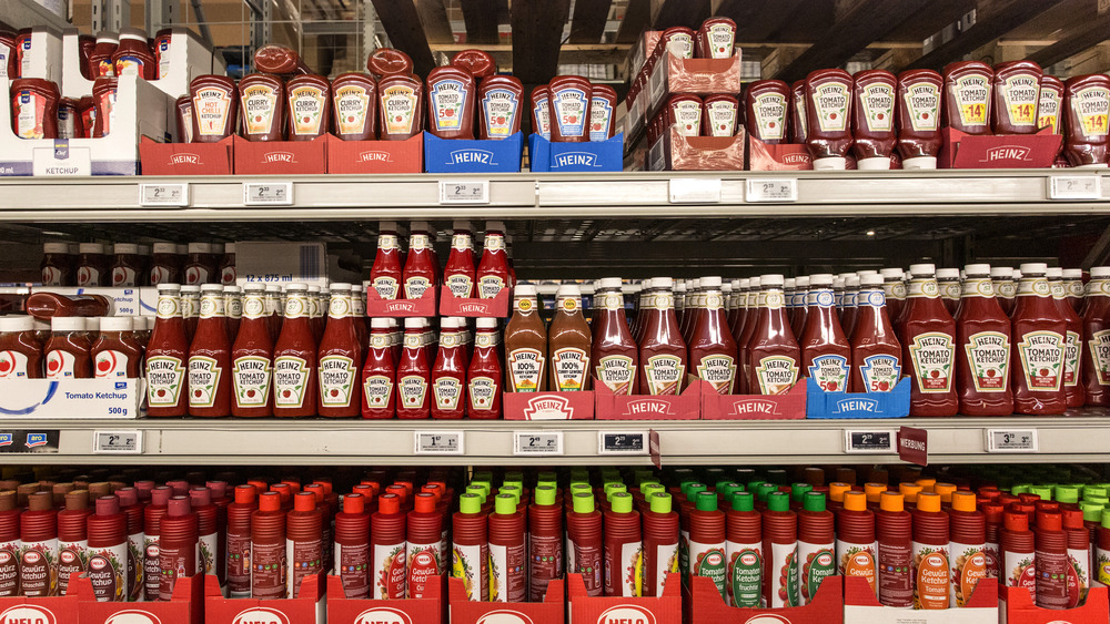 Rows of ketchup on store shelves