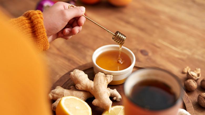 Honey, lemon, and ginger tea