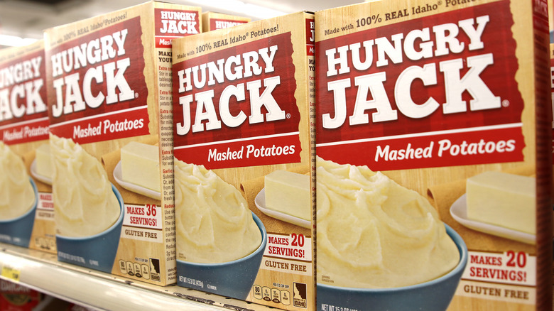 Boxes of Hungry Jack potatoes