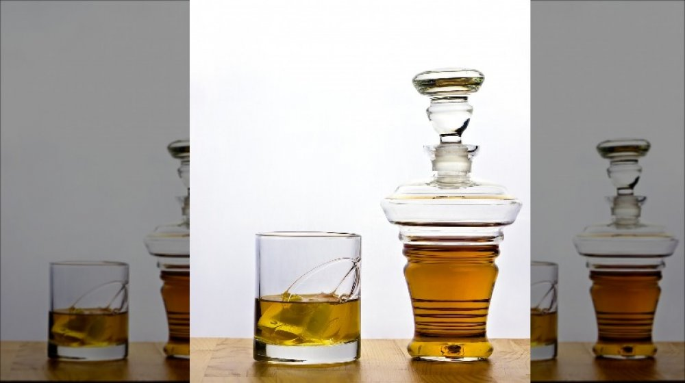 Whiskey decanter and glass