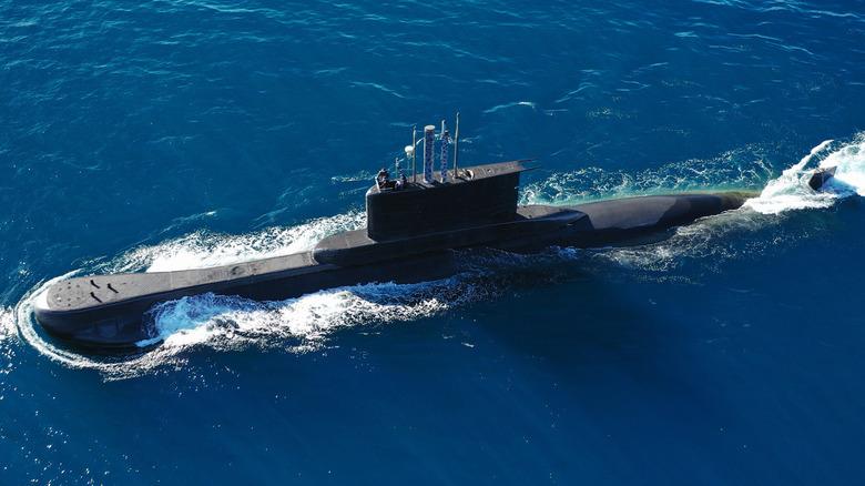 A submarine at sea