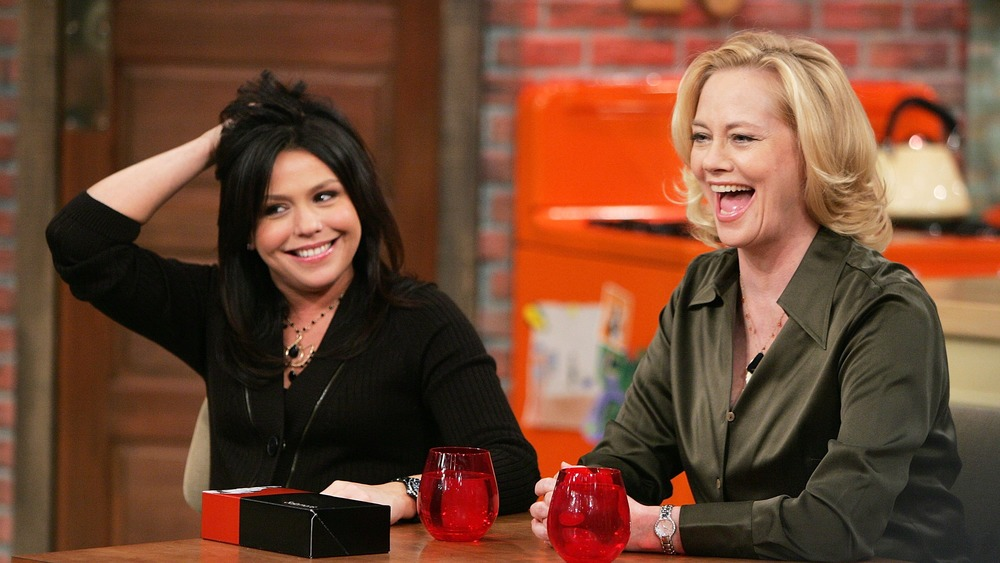 Rachael Ray with a talk show guest