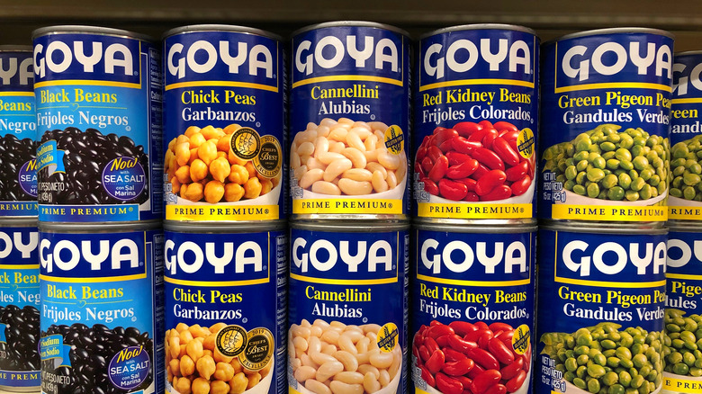 Goya beans stacked on one another