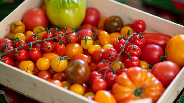 Heirloom tomatoes in a box