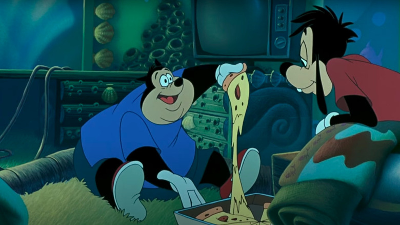 A Goofy Movie characters holding pizza