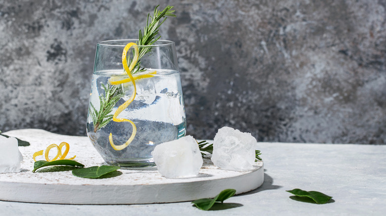 A tonic drink with lemon and rosemary.