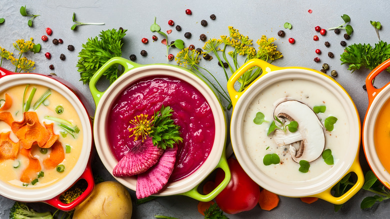 Colorful healthy soups