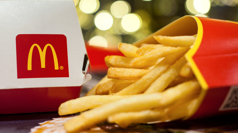 McDonald's sandwich box and french fries