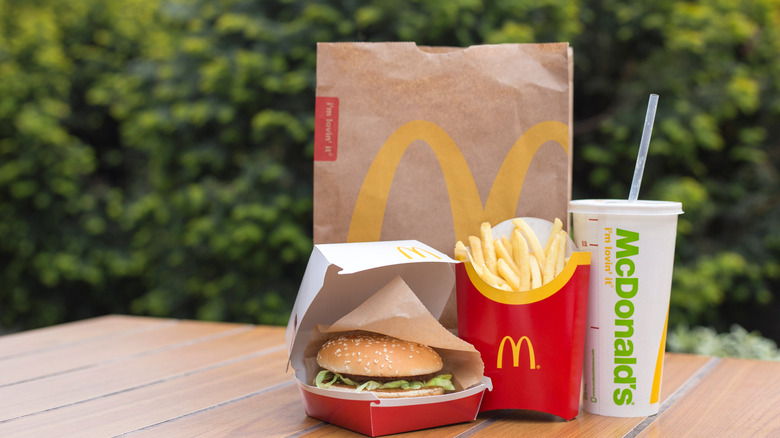 McDonald's meal on picnic table