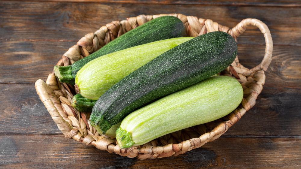 Zucchinis in a basket