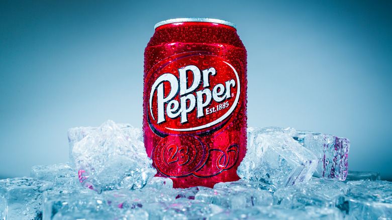 Dr Pepper can on ice