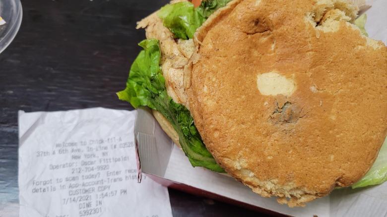 Chick-fil-A sandwich with moldy bun