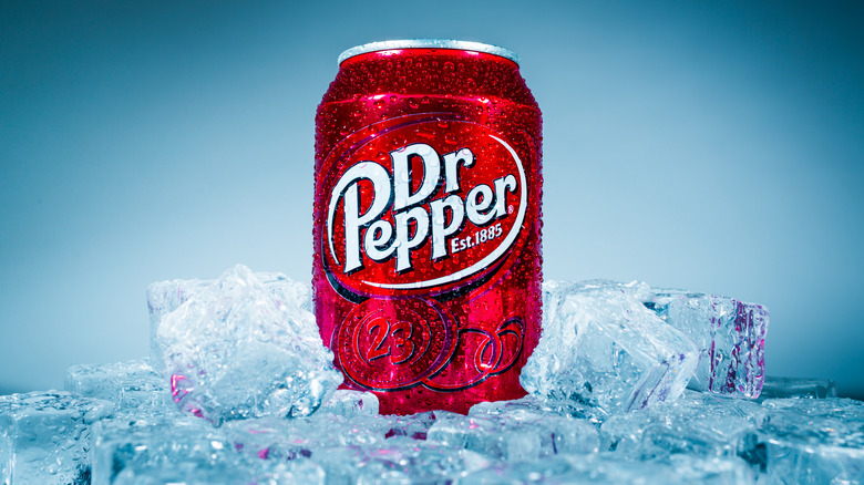 Dr. Pepper can on ice
