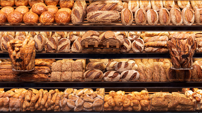 Loaves of bread in rows at bakery