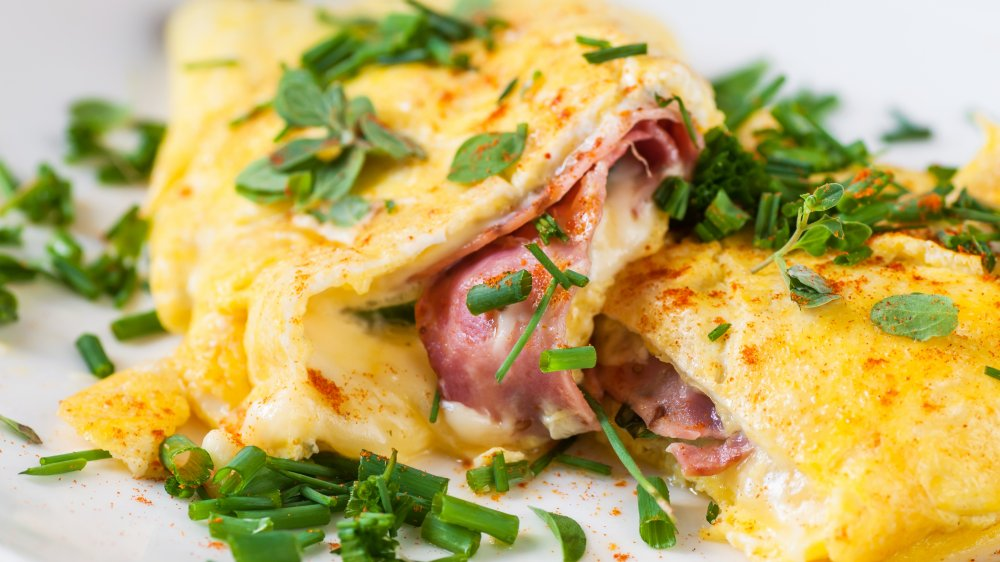 Ham and cheese omelet with chives