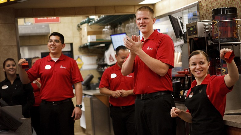 Chick-Fil-A employees at restaurant