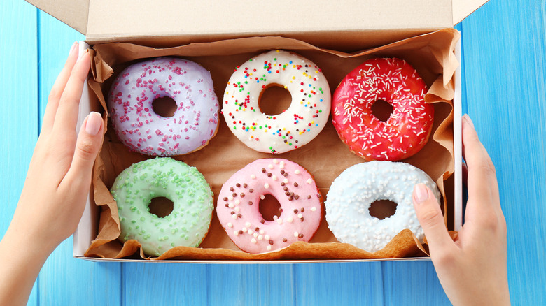 Box of frosted donuts