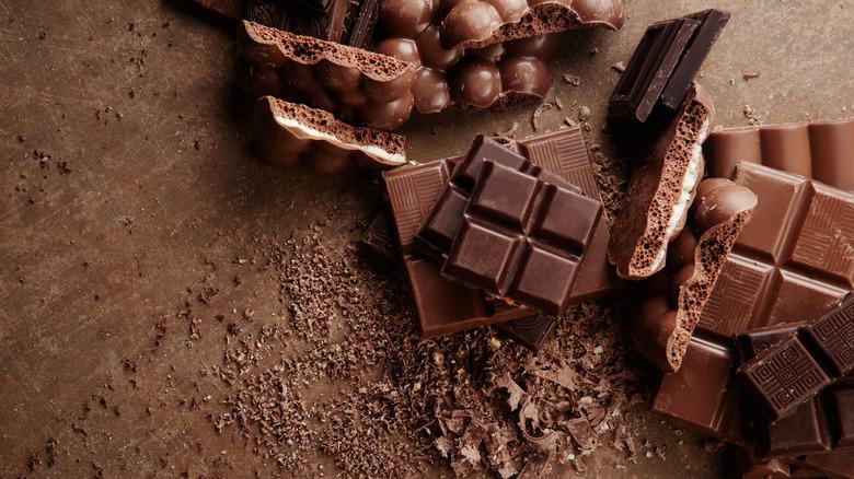 Chocolate bars against wood