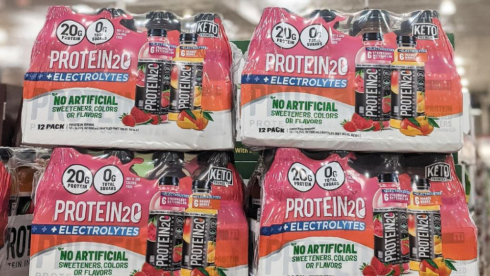 Cases of Costco's Protein 2o Protein Infused Water