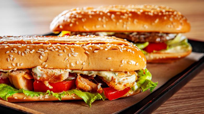 Two hot submarine sandwiches