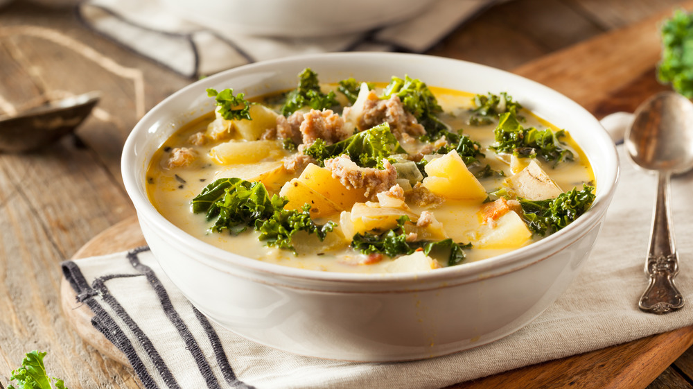 A bowl of Zuppa Toscana, classic Tuscan soup