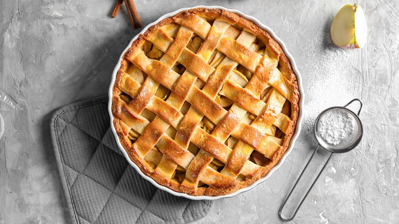 Latticed apple pie